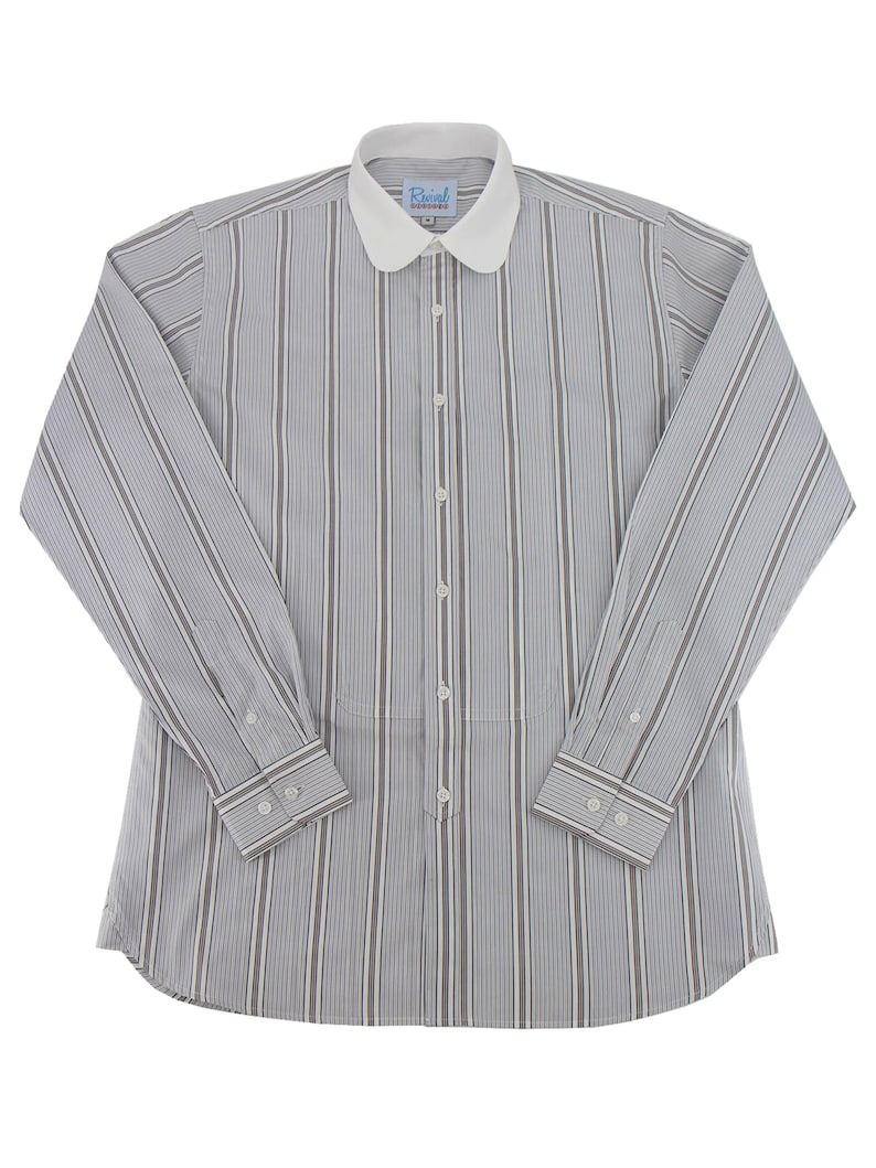 1920s Men's Shirts and Collars History Revival Vintage Retro All Cotton 1930s 1940s Grey Bar Stripe White Contrast Collar Beaumont Shirt $75.32 AT vintagedancer.com