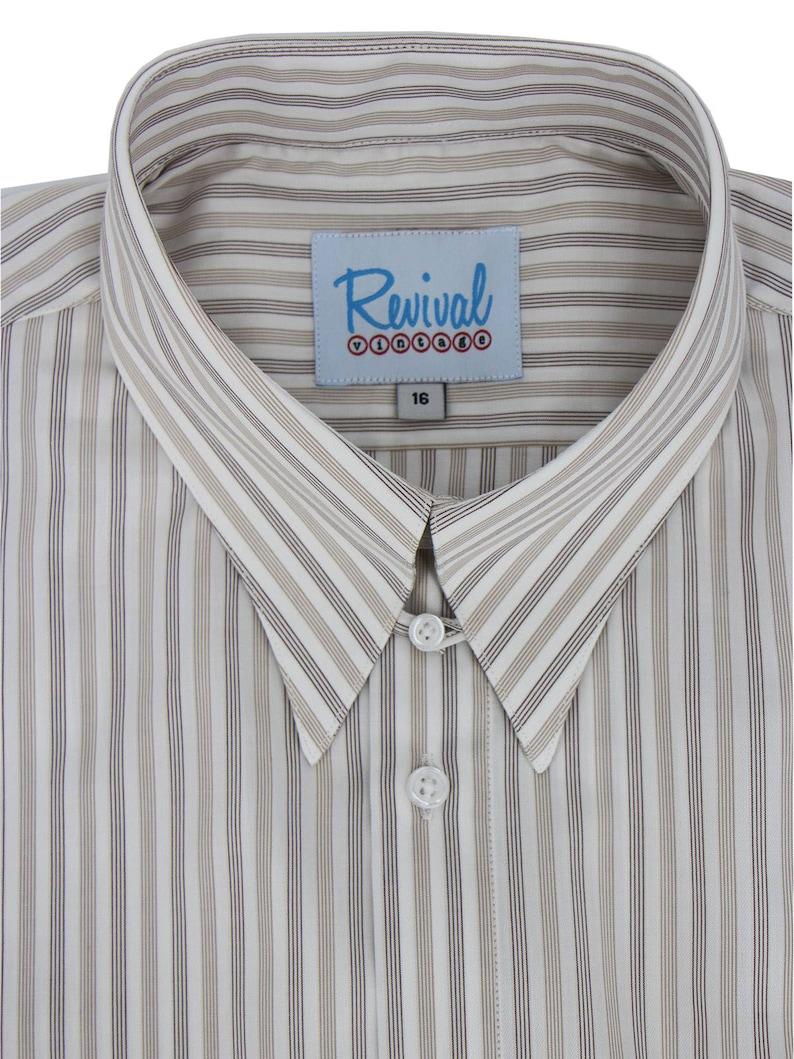 1940s Men's Clothing     Revival Vintage Retro All Cotton 1940s Look Sand & Brown Stripe White Spearpoint Tab Collar Shirt $75.47 AT vintagedancer.com