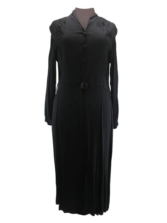 Vintage Black Crepe 1930s 40s Dress With Shoulder