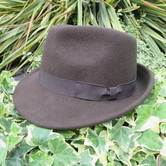 Mens Trilby Hat 1950s Retro Brown 100% Wool Vintag