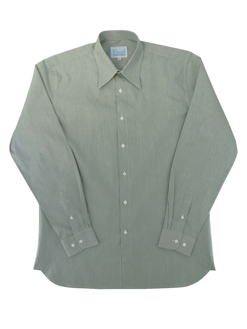 1930s Mens Shirts | Dress Shirts, Polo Shirts, Work Shirts Revival Vintage Retro All Cotton Green Fine Stripe 1940s Look Spearpoint Shirt $68.22 AT vintagedancer.com