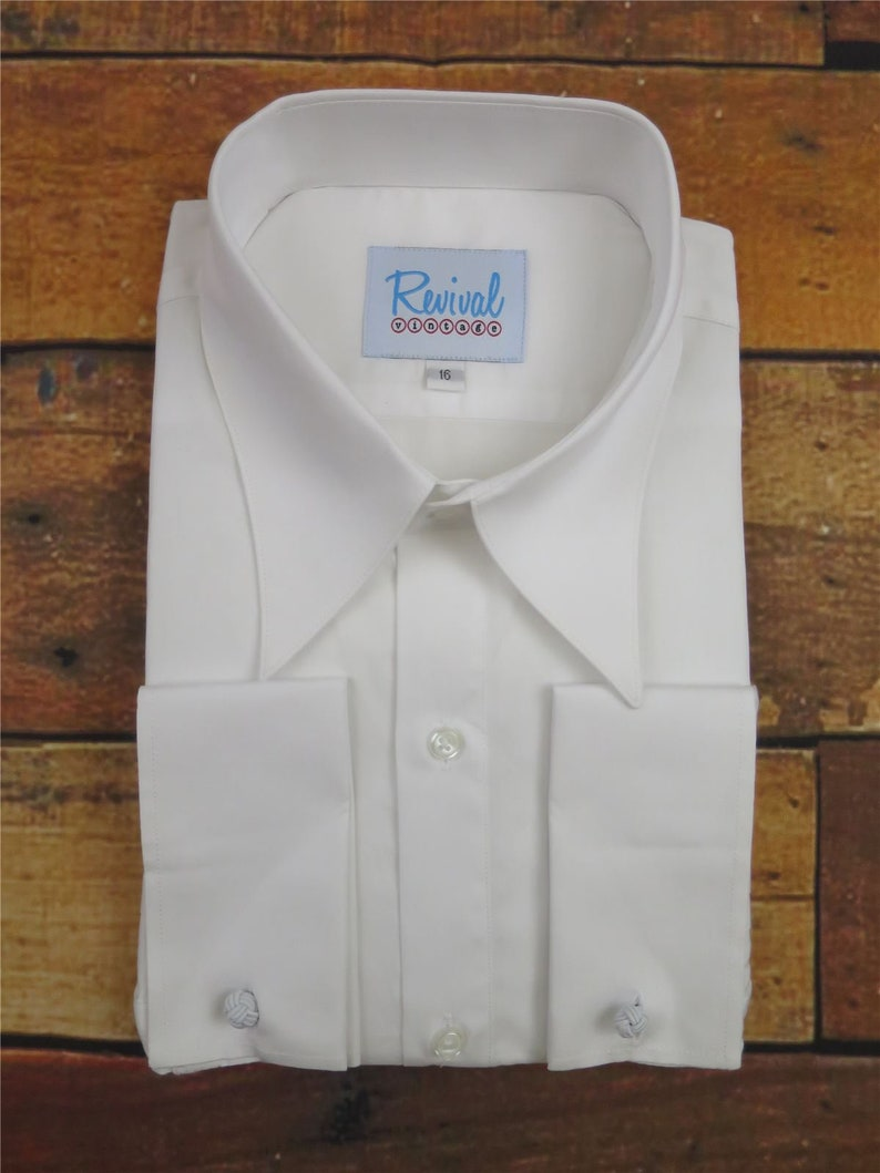 Mens Vintage Shirts – Casual, Dress, T-shirts, Polos Spearpoint Revival Vintage White All Cotton 1930s 40s Style Spearpoint Collar Shirt $57.66 AT vintagedancer.com