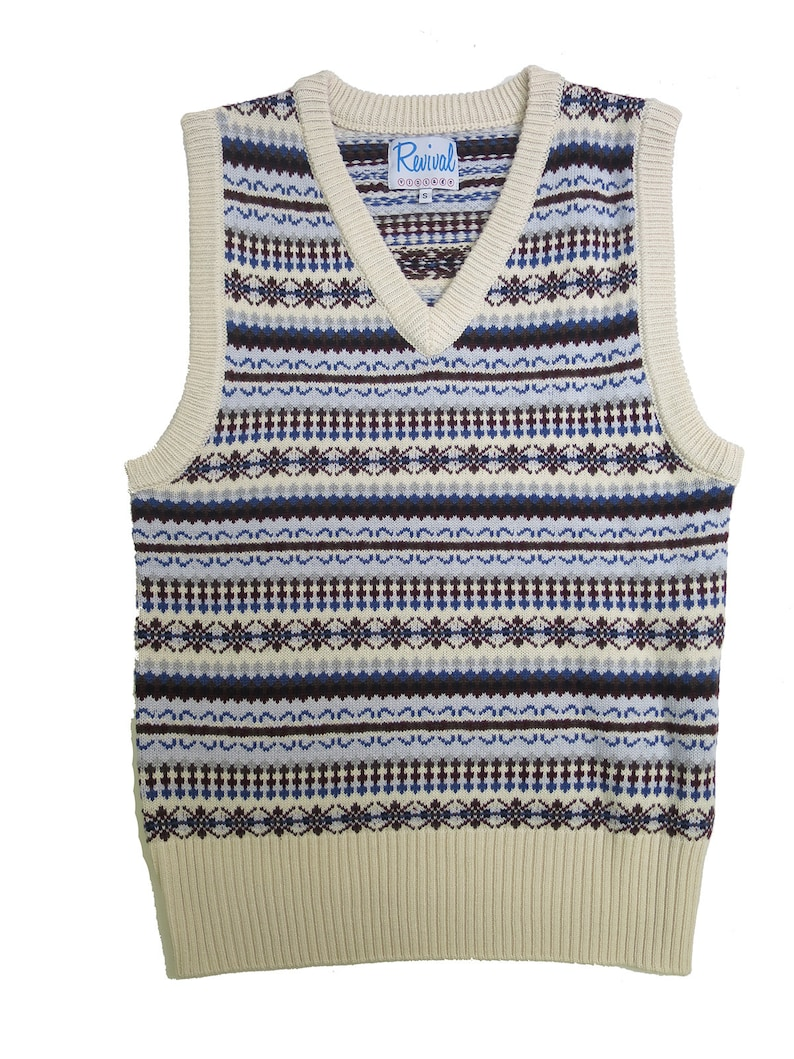 1940s UK and Europe Men's Clothing – WW2, Swing Dance, Goodwin Limited Edition 1940s Vintage Style Mens Fairisle Tank Top $53.63 AT vintagedancer.com
