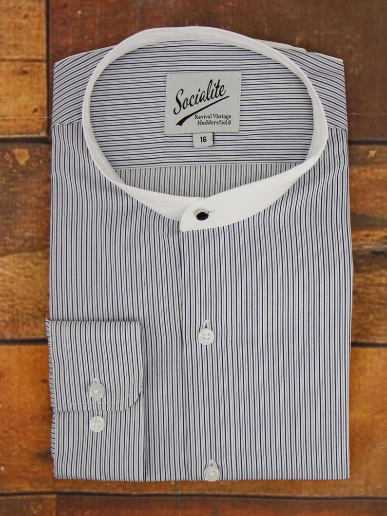 Mens Vintage Shirts – Casual, Dress, T-shirts, Polos Deluxe 1940s Style Shirt with Bankers Collar | Revival 1930s 1940s Vintage Style Navy Blue Track Stripe Shirt with Detachable Bankers Collar $71.60 AT vintagedancer.com