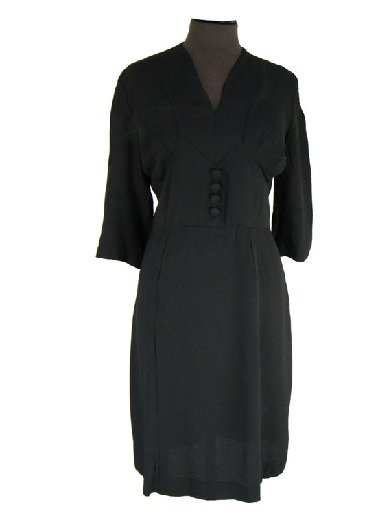 Black Crepe Classic Original 1940s Dress UK 16-18