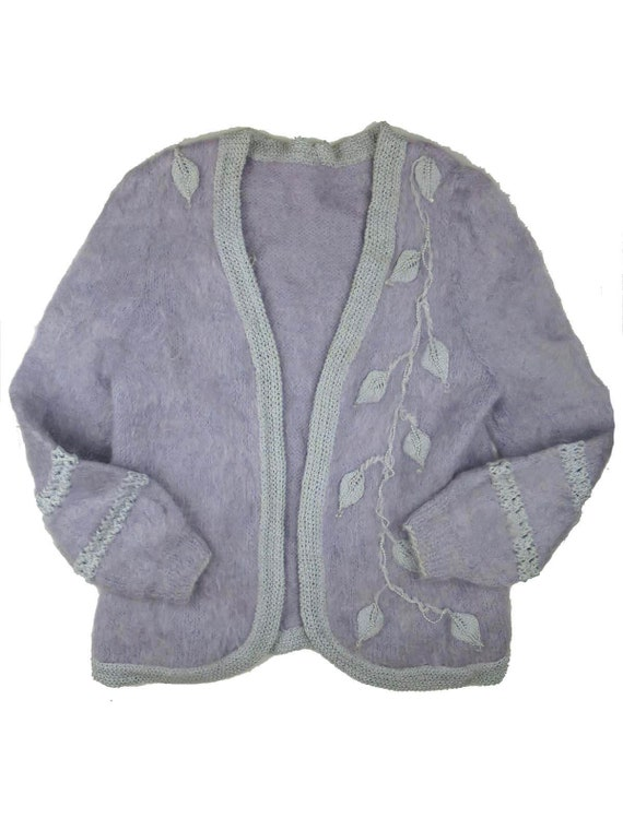 Vintage Fluffy Lilac Cardigan With Pearl Trim UK 1