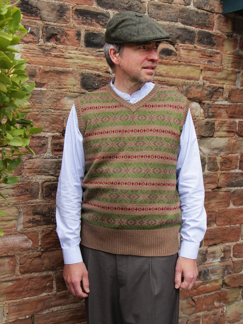 Men's Vintage Sweaters, Retro Jumpers 1920s to 1980s 1940s Vintage Style Revival Brown & Green Fairisle Tank Top $80.19 AT vintagedancer.com