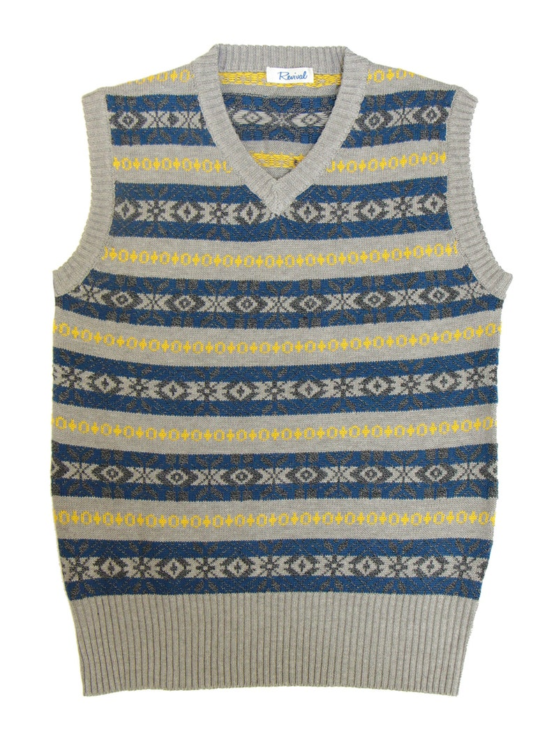 Men's Vintage Sweaters, Retro Jumpers 1920s to 1980s 1940s Vintage Style Revival Grey & Blue Fairisle Tank Top $80.19 AT vintagedancer.com