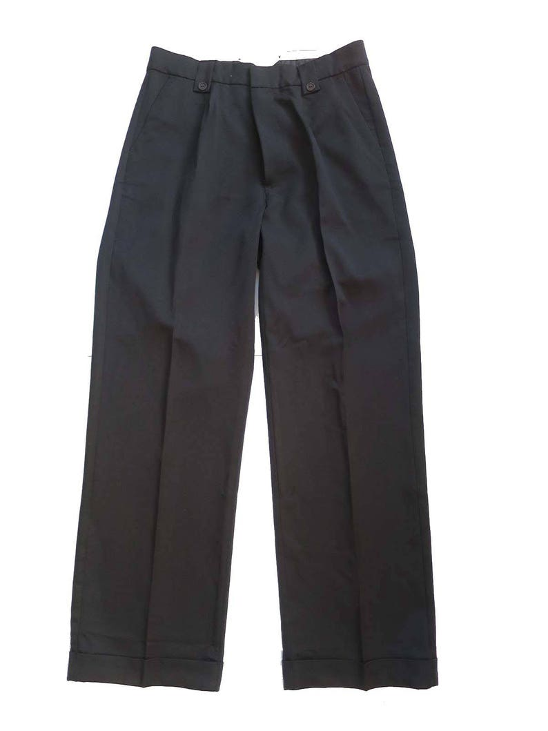 1950s Men's Pants, Trousers, Shorts | Rockabilly Jeans, Greaser Styles 1940s Vintage Style Black Fishtail LookTrousers With Turn Up Hems $57.66 AT vintagedancer.com