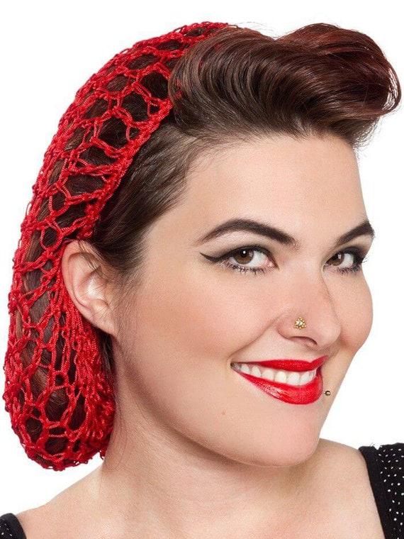 Red Crochet 1940s Forties Vintage Style Hair Snood