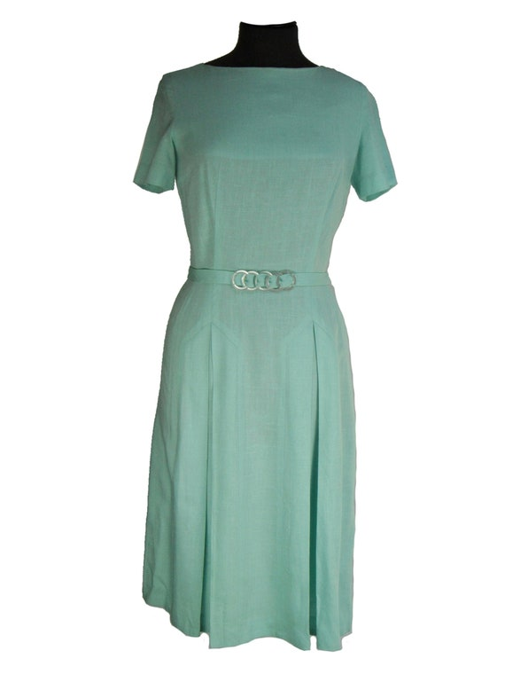 Mint Green Vintage 1930s Slub Linen Dress UK 8-10