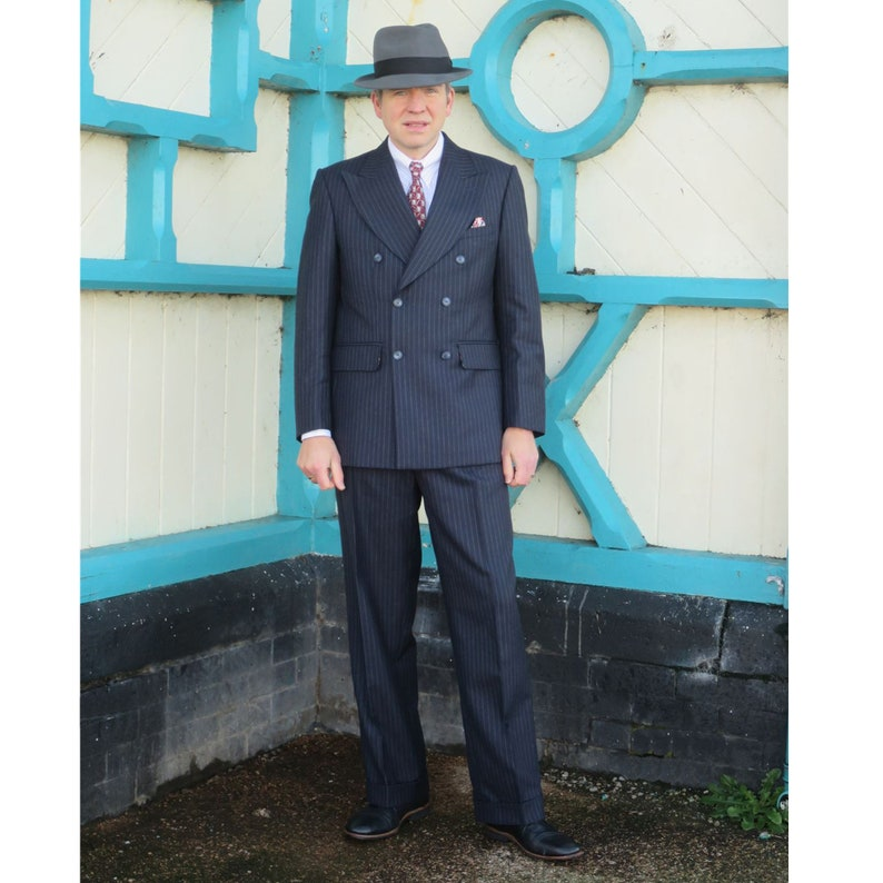 1940s Mens Suits | Gangster, Mobster, Zoot Suits British Hand Tailored Double Breasted Replica 1940s Suit $859.34 AT vintagedancer.com