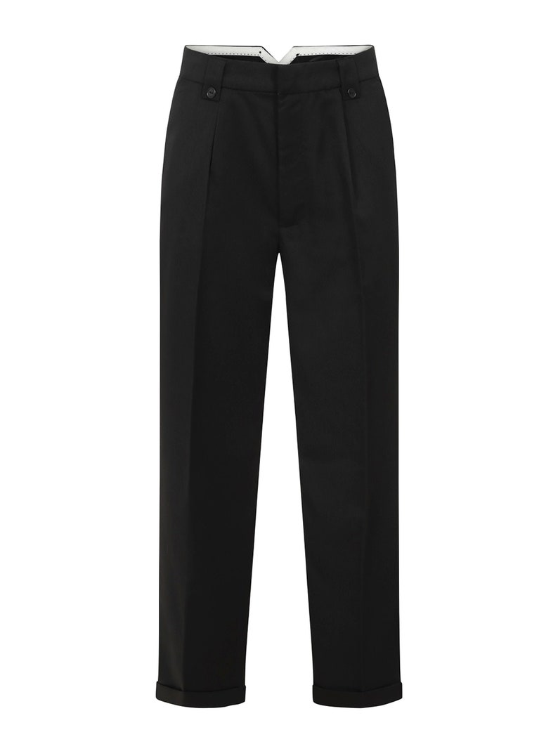 1950s Men's Pants, Trousers, Shorts | Rockabilly Jeans, Greaser Styles 1940s Vintage Style Black Fishtail LookTrousers With Turn Up Hems $63.50 AT vintagedancer.com