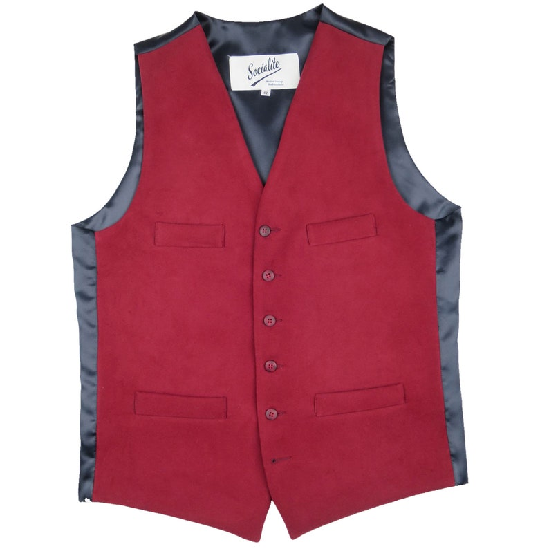 1940s Men's Fashion, Clothing Styles Moleskin Vest Waistcoat | Mens Vintage Style Button Up Waistcoat in Maroon Red Made in the UK $117.43 AT vintagedancer.com