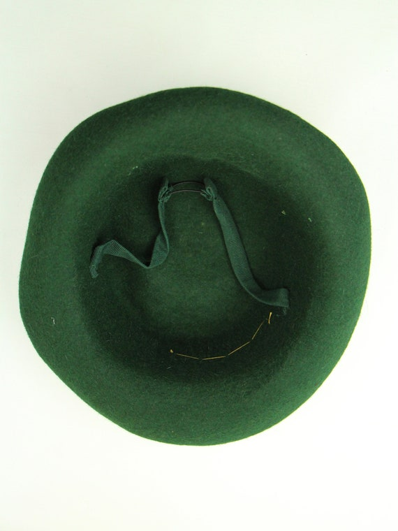 Vintage 1940s Forties Deep Green Vintage Hat Gold… - image 6