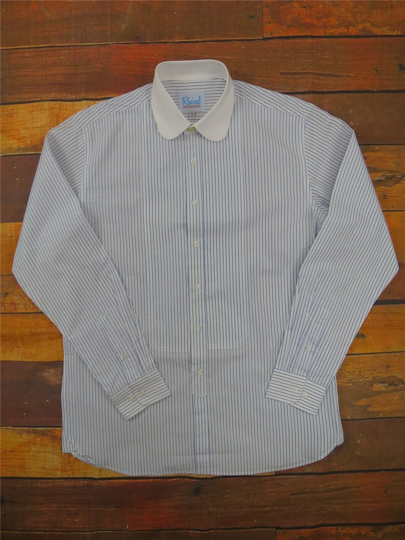 1920s Men's Shirts and Collars History Blue Stripe Beaumont Club Collar 1930s 1940s Style Shirt and Gold Stud Button $69.55 AT vintagedancer.com