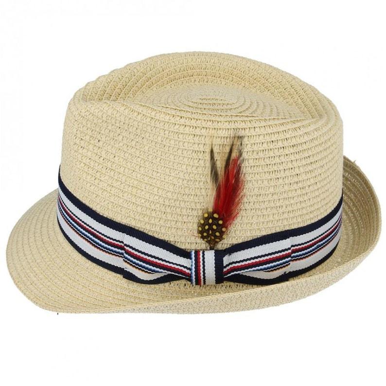 1950s Mens Hats | 50s Vintage Men's Hats Summer Straw Trilby | Vintage Style Mens Light Weight Panama Trilby $28.11 AT vintagedancer.com