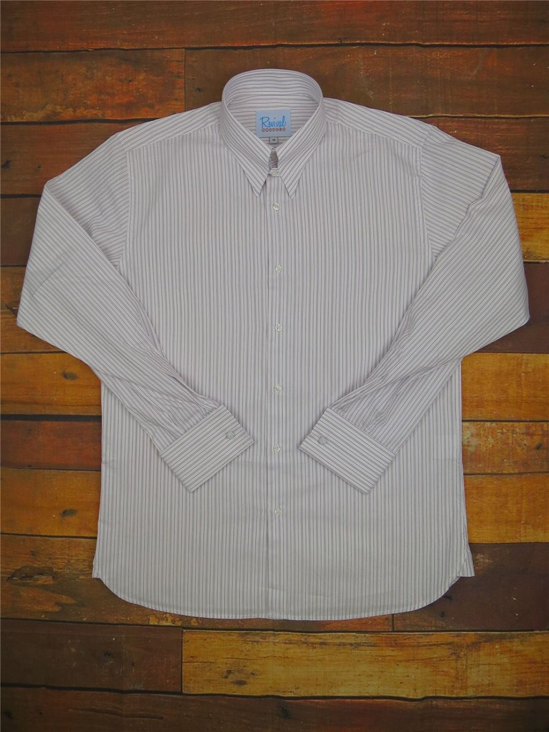1940s Men's Shirts, Sweaters, Vests Revival London Stripe Authentic 1940s Style Spearpoint Tab Collar Shirt $68.73 AT vintagedancer.com