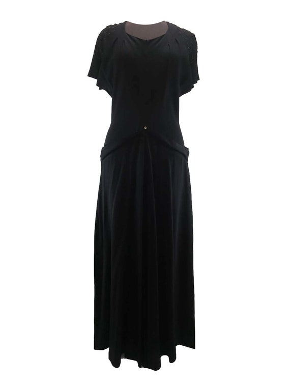 Vintage Black Crepe 1930s 1940s Gown With Beaded S
