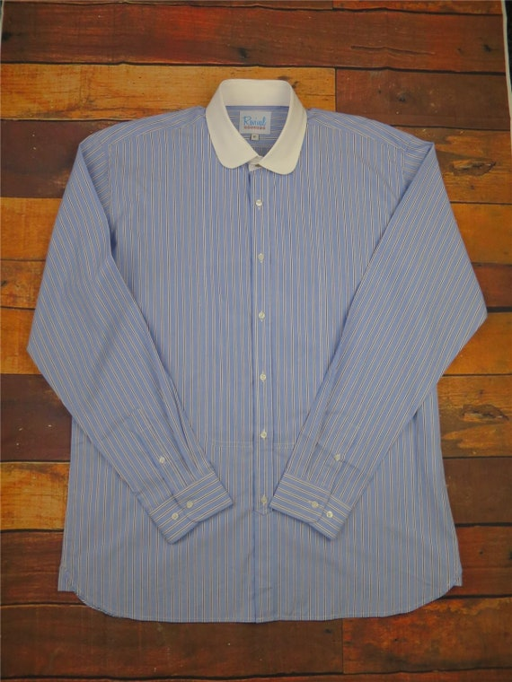 Vintage Shirts – Mens – Retro Shirts Revival Vintage Blue & White All Cotton 1930s 40s Style Round Club Collar Shirt $42.99 AT vintagedancer.com