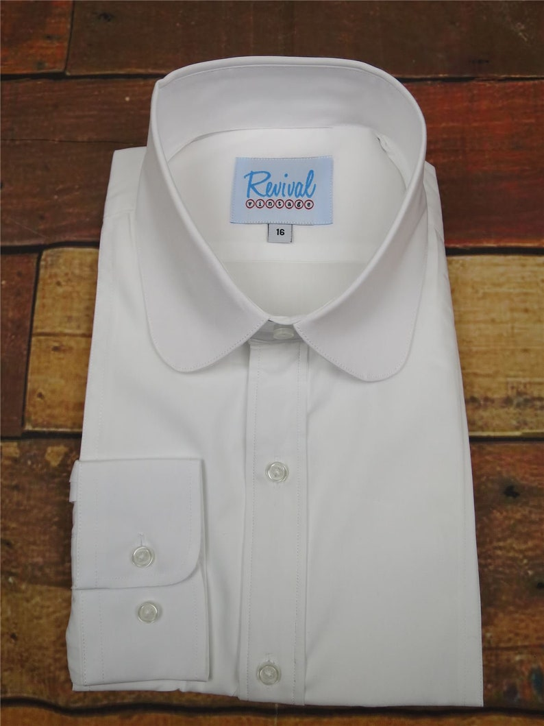 Mens Vintage Shirts – Casual, Dress, T-shirts, Polos Revival Authentic 1920s30s40s Style White Club Collar Shirt $60.34 AT vintagedancer.com
