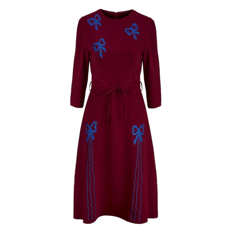 Vintage Style Dresses | Vintage Inspired Dresses Replica Vintage 1940s Dark Red Beau Belle Dress $123.14 AT vintagedancer.com