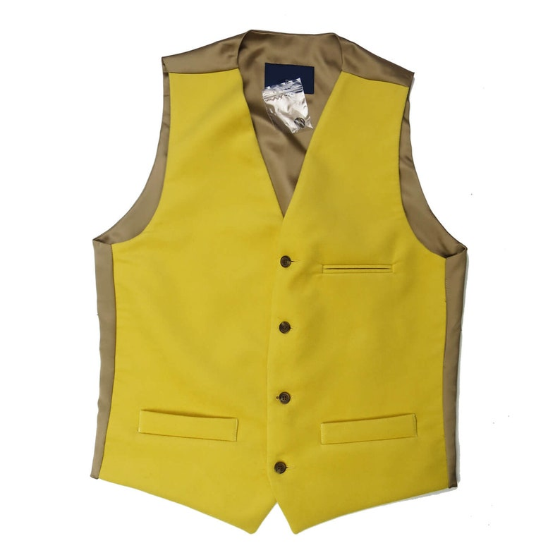 60s Fancy Dress and Quality Clothing 1960s UK Moleskin Vest Waistcoat | Mens Vintage Style Button Up Waistcoat in Golden Yellow Made in the UK $117.43 AT vintagedancer.com