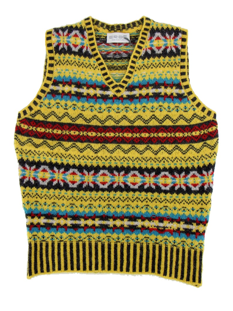 1940s Men's Clothing     Fairisle Shetland Pure Wool Vest 40s Style Knitted Tank Top - Piccalilli $131.02 AT vintagedancer.com