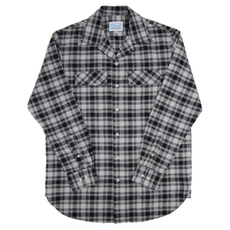 Men's Vintage Workwear Inspired Clothing 1940s 50s Open Necked Leisure Shirt - Revival Vintage Rockabilly Style Grey Check Shirt $71.60 AT vintagedancer.com