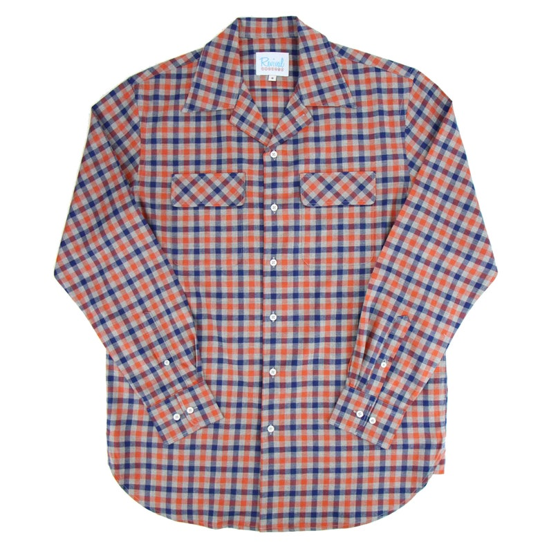 Mens Vintage Shirts – Casual, Dress, T-shirts, Polos 1940s 50s Open Necked Leisure Shirt - Revival Vintage Rockabilly Style Red Check Shirt $73.99 AT vintagedancer.com