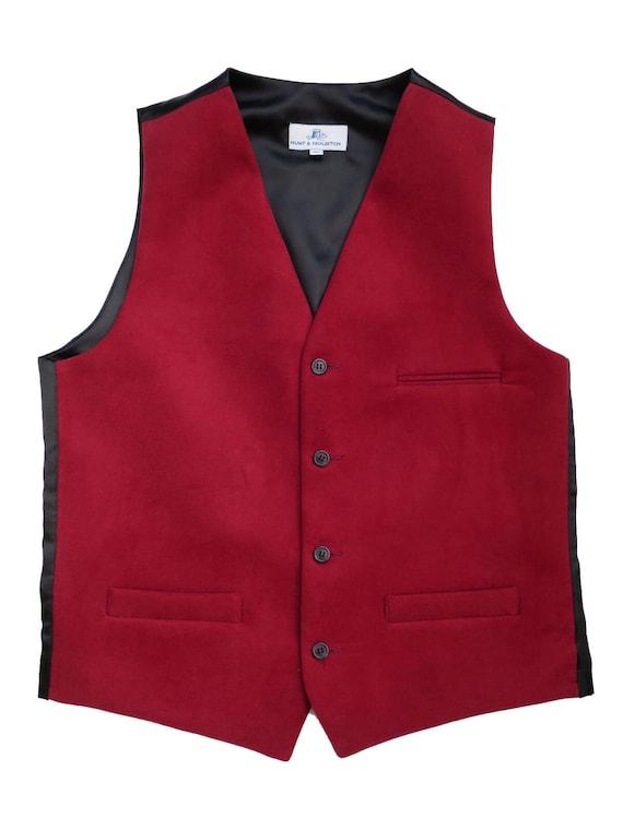 UK Made Vintage Style Moleskin Waistcoat In Red
