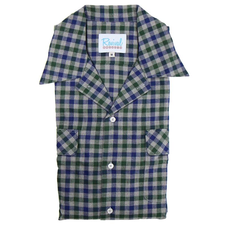 1950s Mens Shirts | Retro Bowling Shirts, Vintage Hawaiian Shirts 1940s 50s Open Necked Leisure Shirt - Revival Vintage Rockabilly Style Green Check Shirt $73.99 AT vintagedancer.com