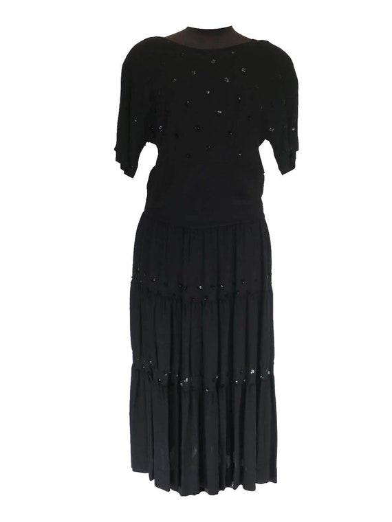True Vintage 1940s Black Dress With Sequins & Tier