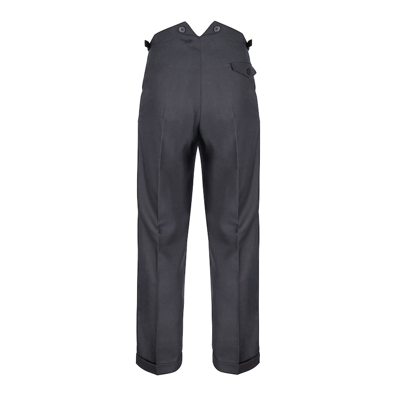 Men's Vintage Pants, Trousers, Jeans, Overalls Mens Fishtail Back Trousers Authentic Revival 1940s Slate Grey High Waist Pants $97.38 AT vintagedancer.com