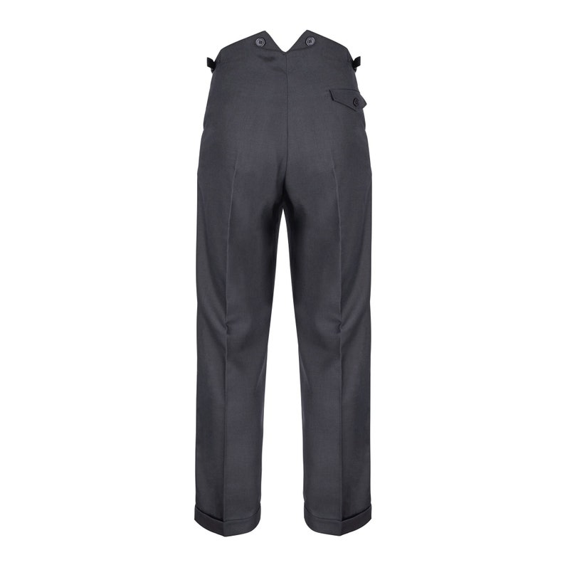 1920s Men's Fashion UK | Peaky Blinders Clothing Mens Fishtail Back Trousers Authentic Revival 1940s Slate Grey High Waist Pants $96.60 AT vintagedancer.com