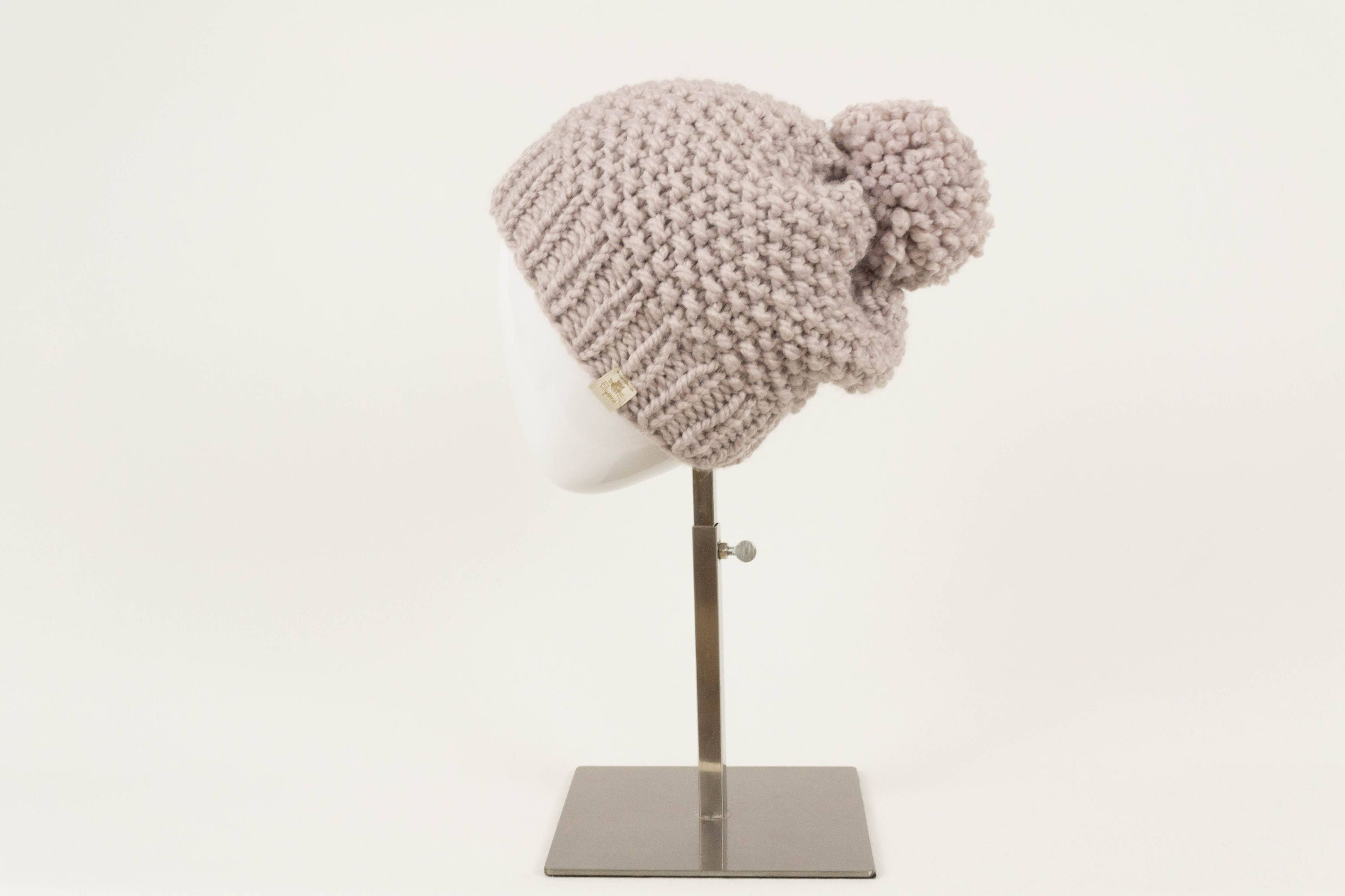 Chunky Knit Pom Pom Hat Wool Slouchy Hat Wool Knit Toque  5d8978b204