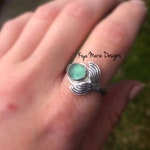 Sea Glass Mermaid Ring, Sterling Silver Mermaid Tail Ring, Mermaid jewelry, Ocean Jewelry, Sea Maiden Ring
