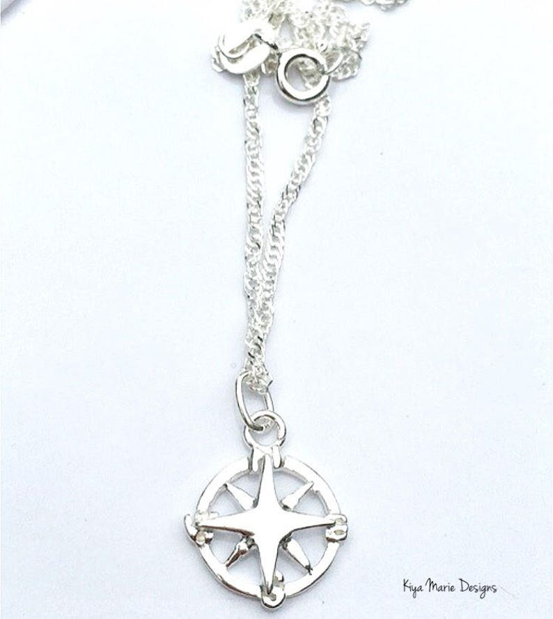 Compass jewelry navigation jewelry sterling silver compass image 0