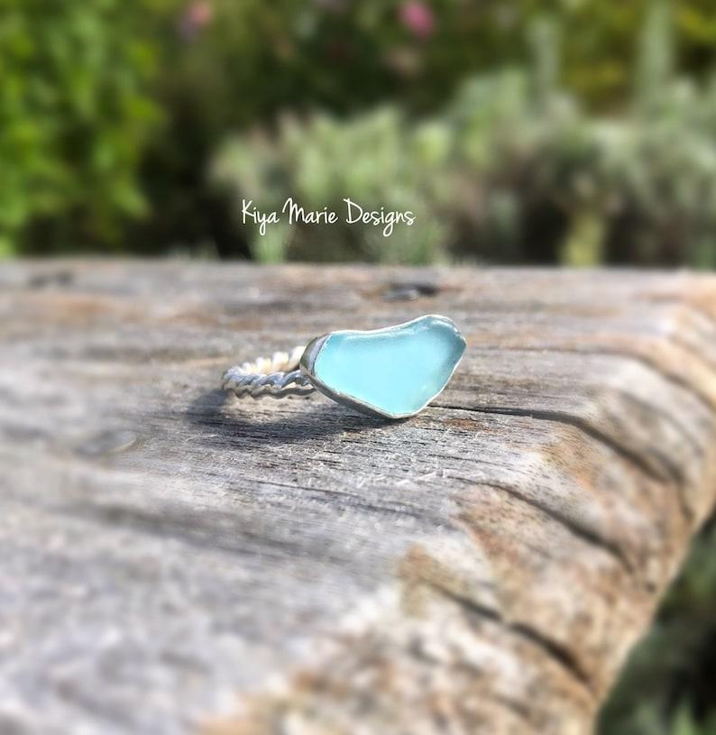 Sea Glass Ring engagement ring bezel set in fine & argentium image 0