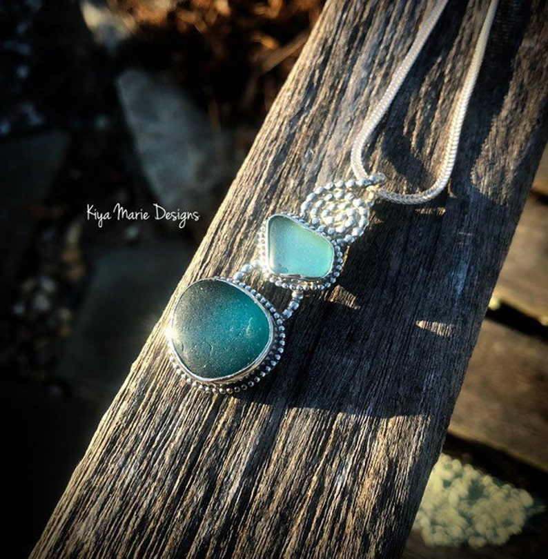 Double Sea Glass necklace aqua and teal sea glass necklace image 0