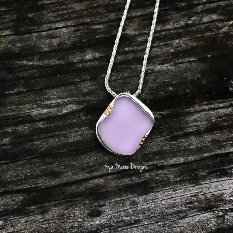 Sea Glass Necklace 22k gold necklace bezel set in argentium image 0