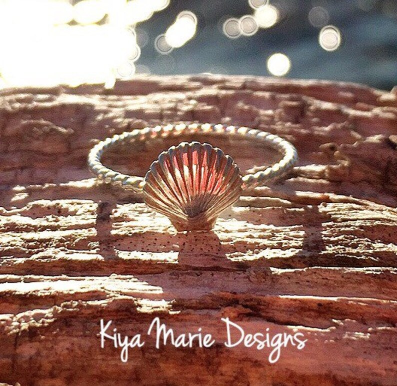 Sea shell Ring skinny band stack ring Sterling Silver image 0