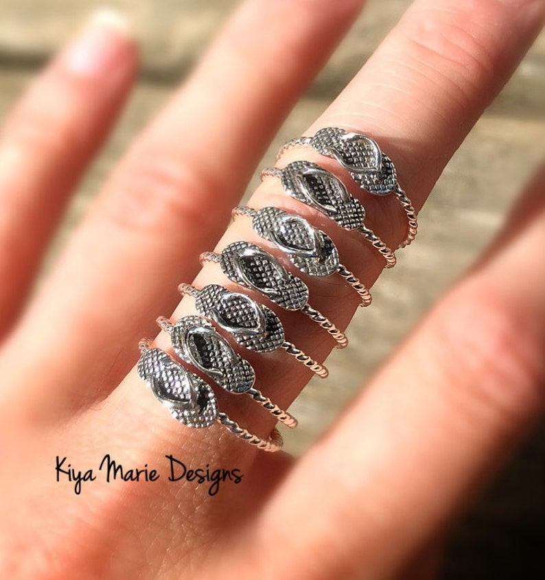 Flip flop ring Skinny band stack ring Sterling Silver image 0