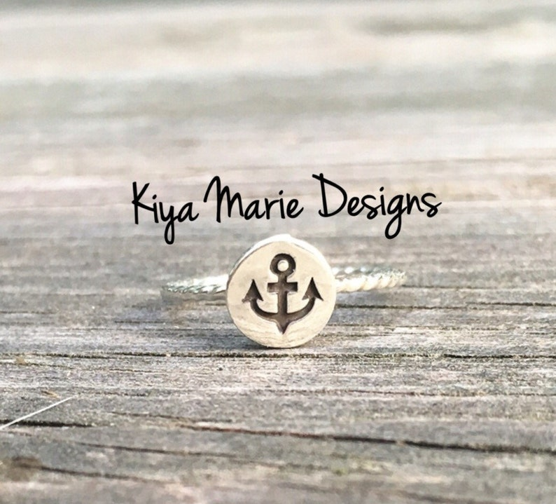 Anchor Ring skinny band stack ring Sterling Silver Argentium image 0