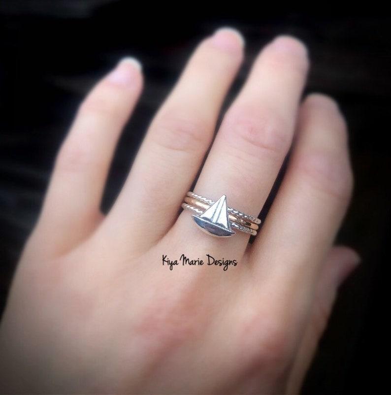 Sailboat Ring silver sailboat thin band ring Sterling image 0