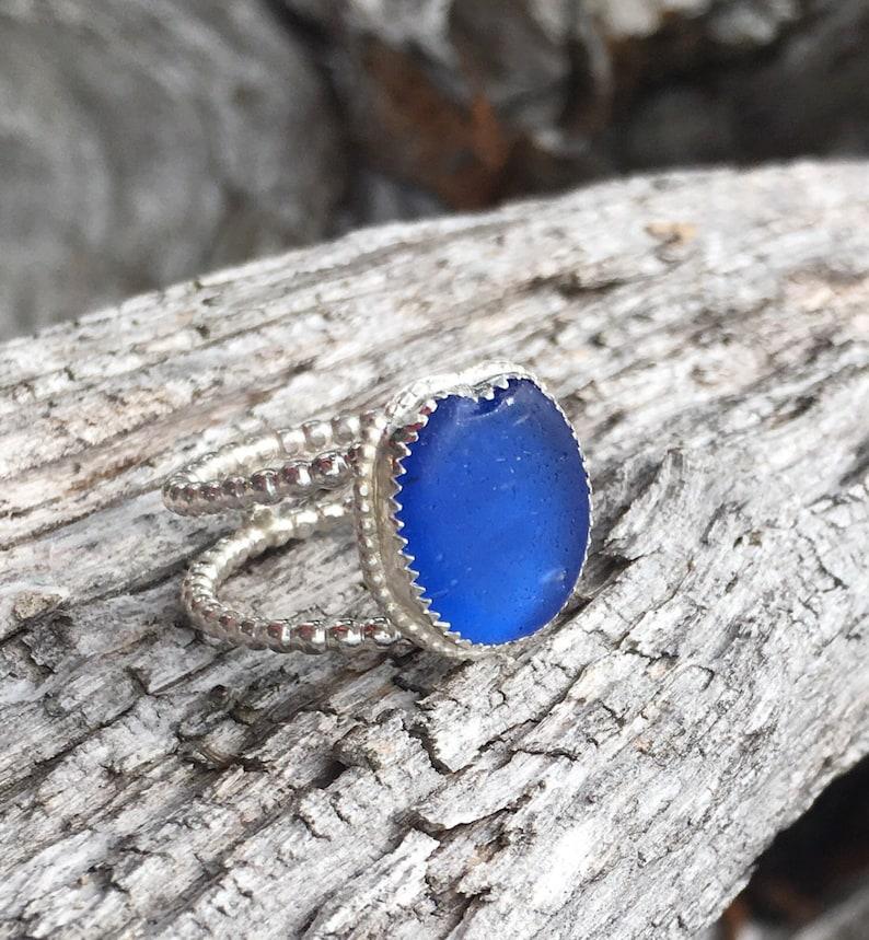 Eco friendly engagement ring bezel set in argentium silver Japanese Sea Glass Ring ohajiki sea glass rare beach ocean jewelry,women