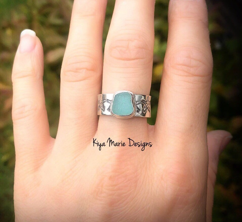 Sea Glass Ring Thick stamped ring bezel set in argentium image 0