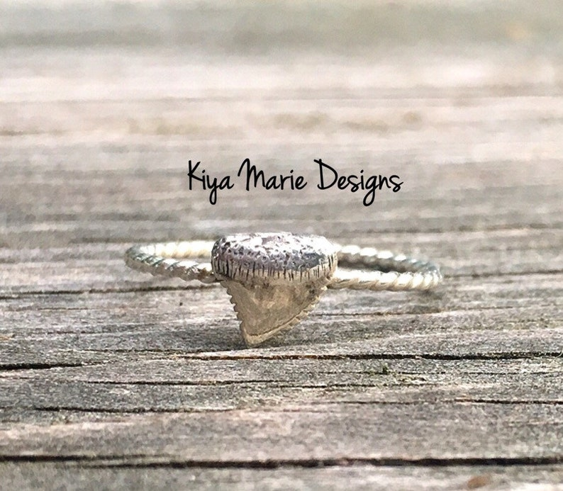 Shark tooth Ring skinny band stack ring Sterling Silver image 0