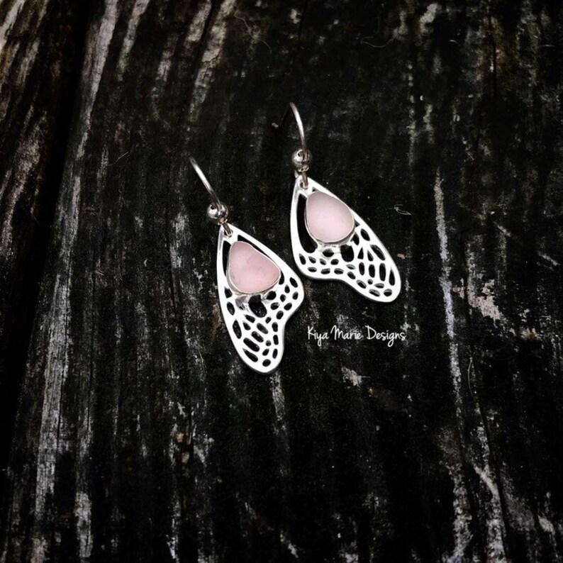 Sea glass earrings monarch butterfly earrings beach image 0