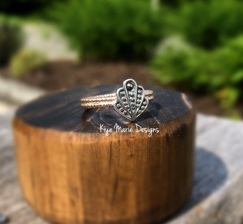 Seashell ring silver and gold shell ring marcasite sea shell image 0